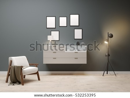 3d  living room with wooden cabinet, blank frames and vintage chair, 3D illustration