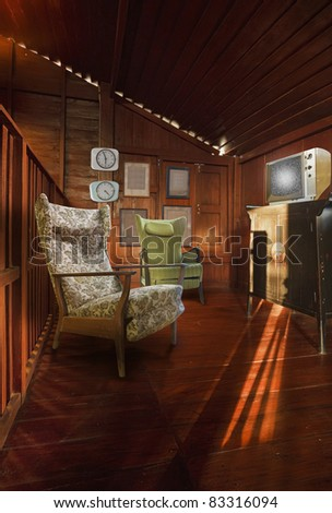 3D Living room, wooden and retro style