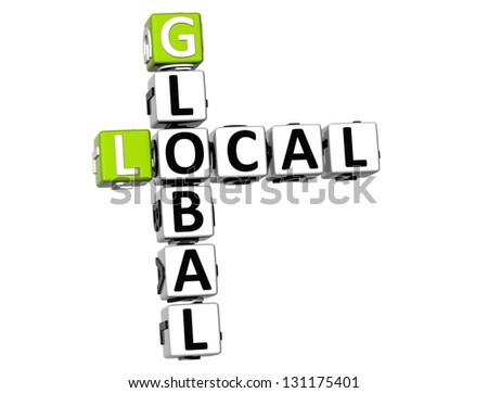 3D Local Global Crossword on white background - stock photo