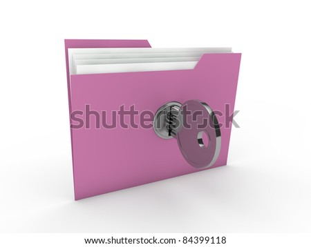 3d lock folder key data pink paper