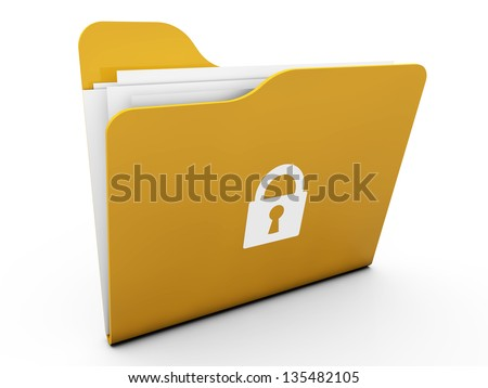 3d Lock folders with paper - stock photo