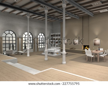 3D loft interior rendering with living room and dining room - stock photo