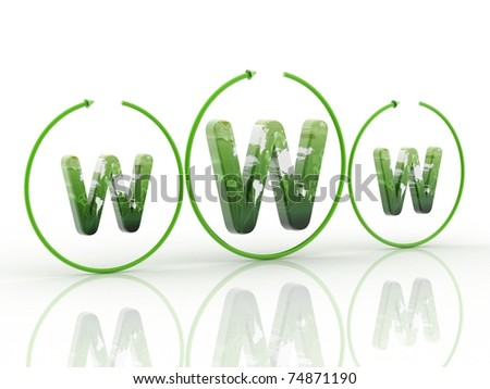 3d logo WWW in white background - stock photo
