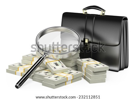 3d  Looking for money with magnifying glass concept. Suitcase and wads of cash. Isolated white background. - stock photo