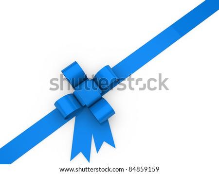 3d loop christmas blue birthday gift ribbon - stock photo