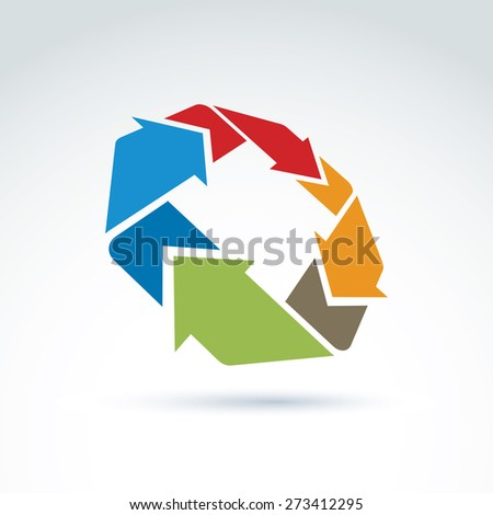 3d loop sign, circulation and rotation icon isolated on white background. Abstract colorful design element, corporate geometric symbol. - stock photo