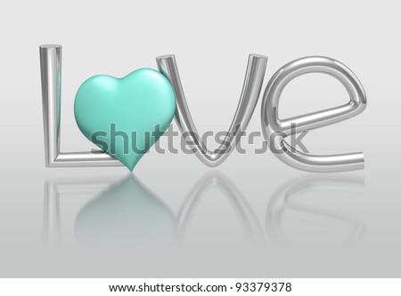 3D LOVE Concept of alphabet - stock photo