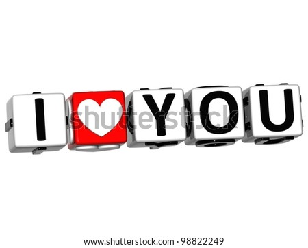 3D Love You Button cube text over white background - stock photo