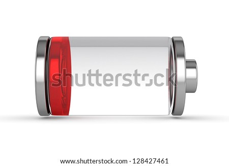 3D Low Battery symbol white isolated