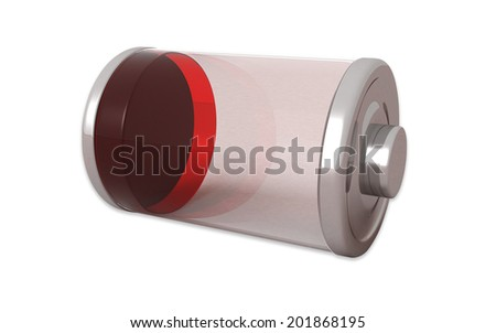 3D Low Battery symbol white isolated - stock photo