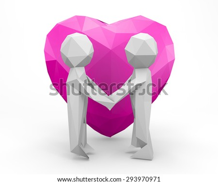 3d low polygon people - human character , person. Love concept, declaration of love. 3d render wedding - stock photo