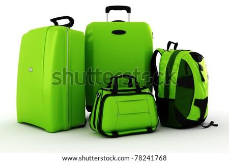 3d luggage isolated on white background - stock photo