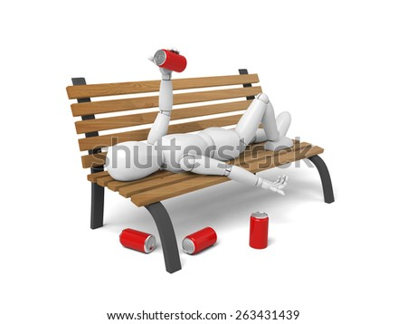 3d lying on a bench with some beer. 3d image. Isolated white background - stock photo