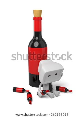 3d lying on a bench with some wine. 3d image. Isolated white background - stock photo