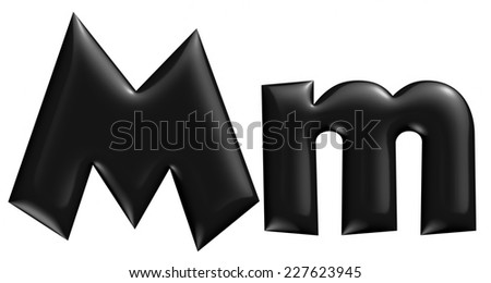 3D M alphabet with small later in black on isolated white background. - stock photo