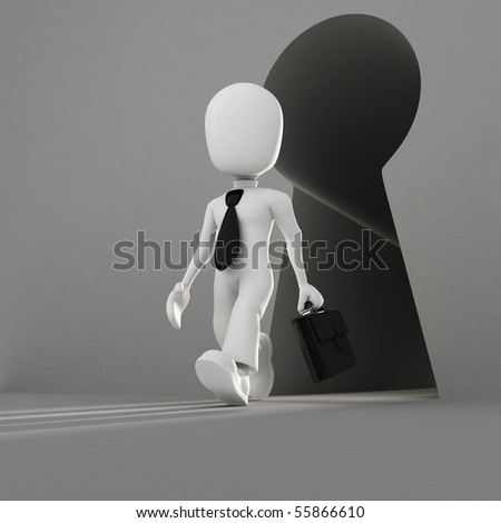 3d ma infront of an abstract keyholl - stock photo