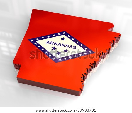 3d made - flag map of Arkansas