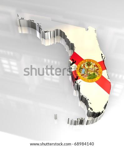 3d made Flag map of Florida - stock photo