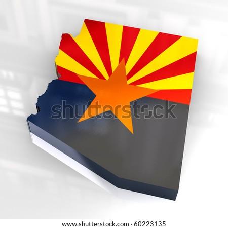 3d made - Flag map og Arizona - stock photo