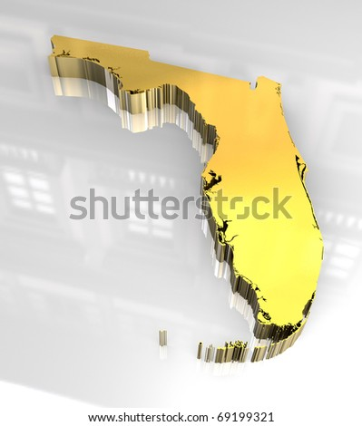 3d made golden map of Florida - stock photo