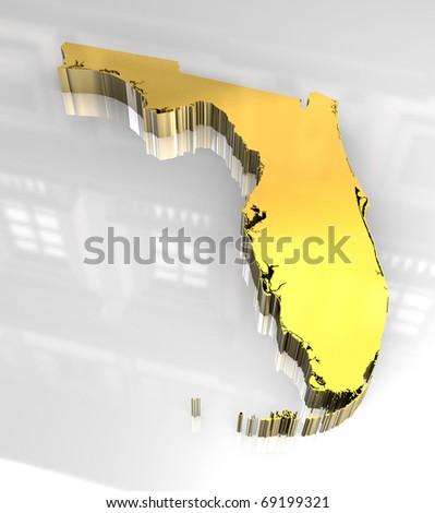 3d made golden map of Florida - stock photo