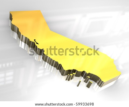 3d made - Golden map og California - stock photo
