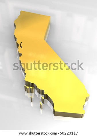 3d made - Golden map og California - stock photo