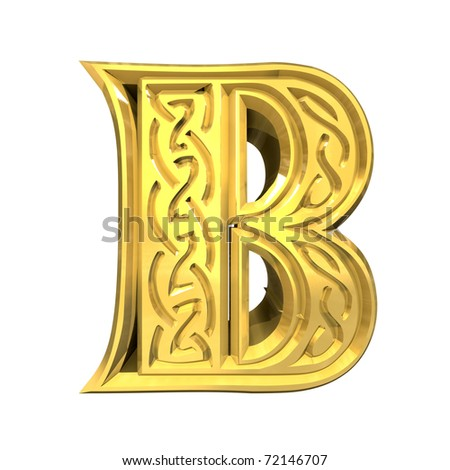 3d made - illustration of Celtic alphabet letter B - stock photo