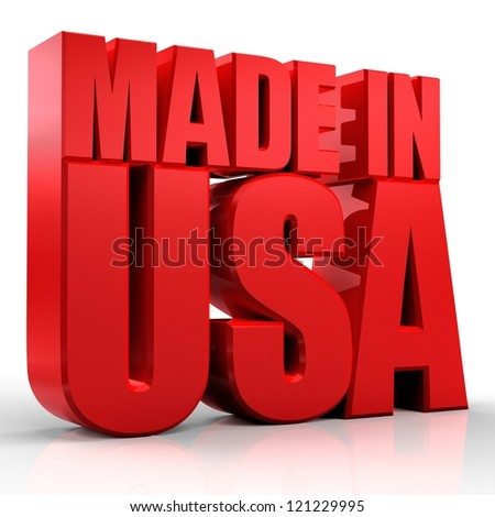 3D made in Usa word on white isolated background