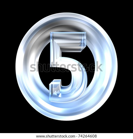3d made - number 5 in glass - stock photo