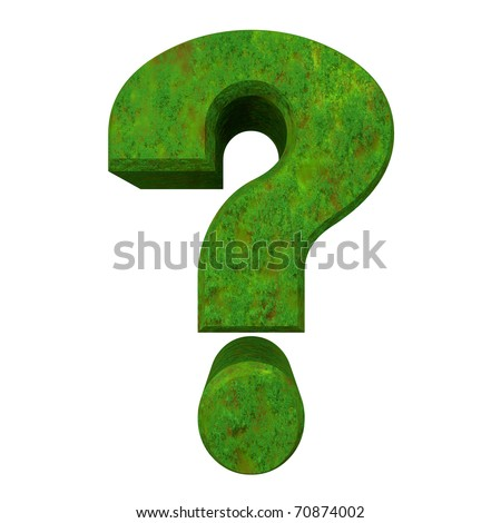 3d made - question mark in green grass - stock photo