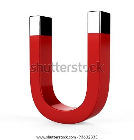 3d magnet horseshoe on white background - stock photo