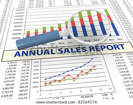 3d magnifying glass focus on annual sales report - stock photo
