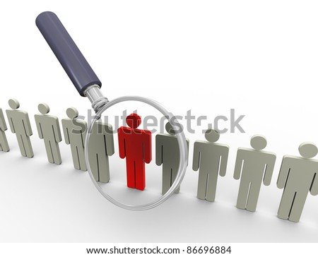 3d magnifying glass hovers over unique red man. Concept of searching people or employee - stock photo