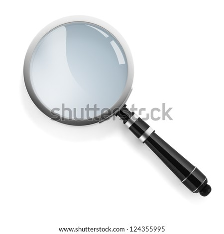 3d magnifying glass on white background - stock photo