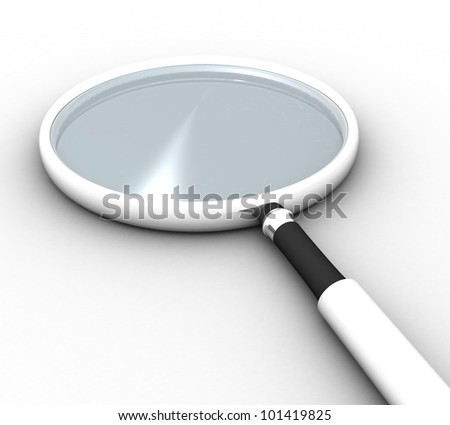 3d magnifying glass on white background isolated