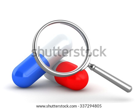 3d magnifying glass with pills on a white background - stock photo
