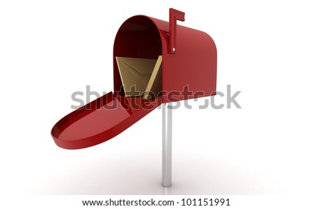 3d mailbox with letters on white background