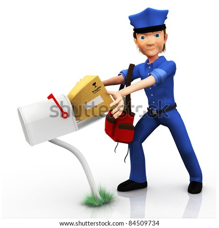 3D mailman delivering the mail - isolated over white - stock photo