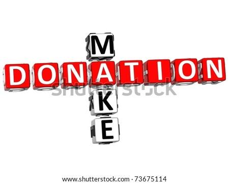3D Make Donation Crossword on white background - stock photo