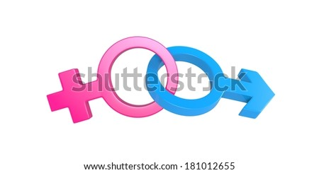 3 D Male and female sex symbol isolated on plain background
