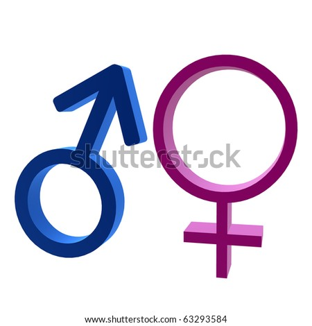3D male & female symbol on a white background
