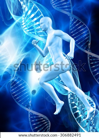 3D male figure on a medical background with DNA strands - stock photo