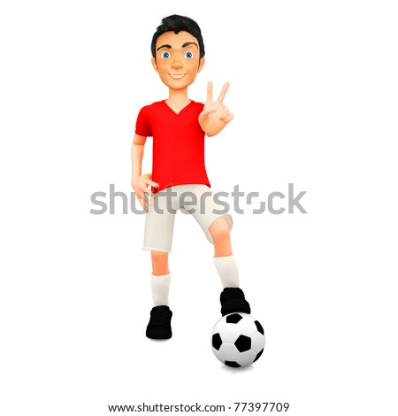 3D Male football player with a ball - isolated over white - stock photo