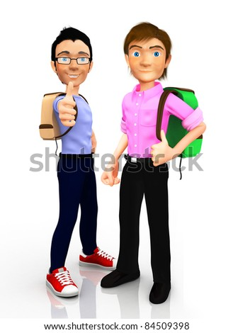 3D Male students with thumbs up - isolated over a white background - stock photo