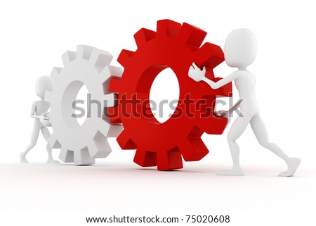 3d man an gear wheels
