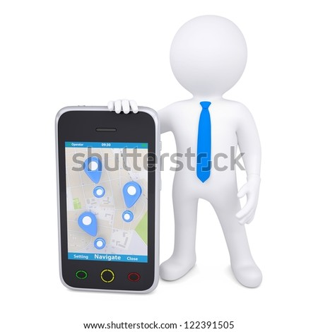 3d man and a smartphone with a map and marks. Isolated render on a white background