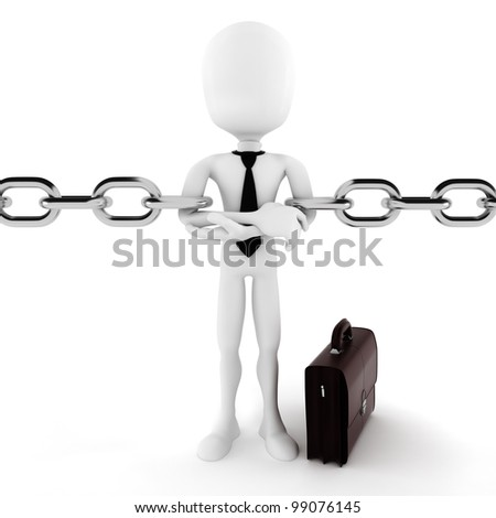 3d man and chain, business concept - stock photo