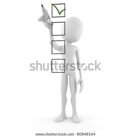 3d man and check list isolated on white background