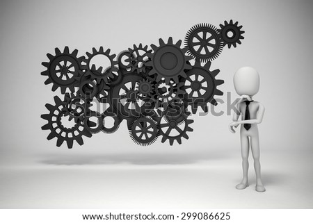 3d man and gear wheels on white background - stock photo